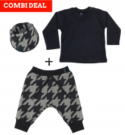 COMBI DEAL! Pied de Poule en BASIC T-shirt Black