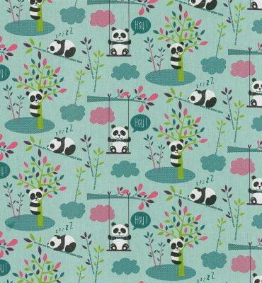 Stof met panda's